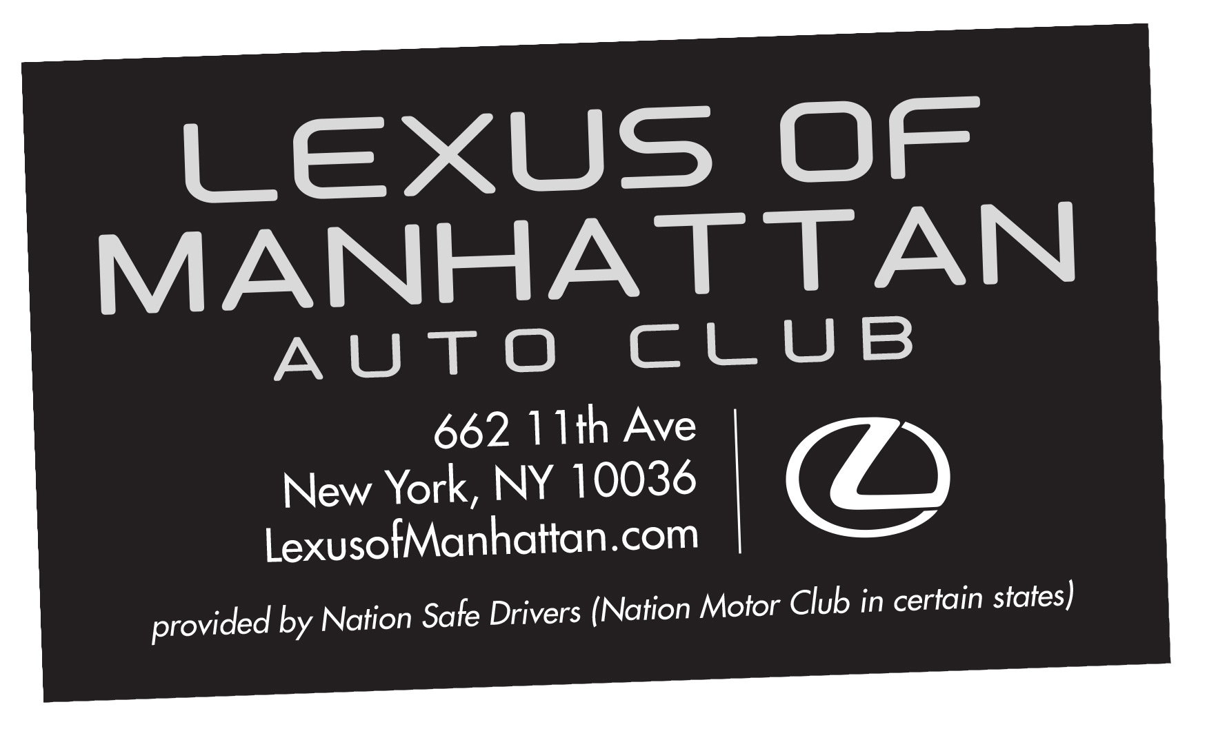 Lexus of Manhattan Auto Club Card